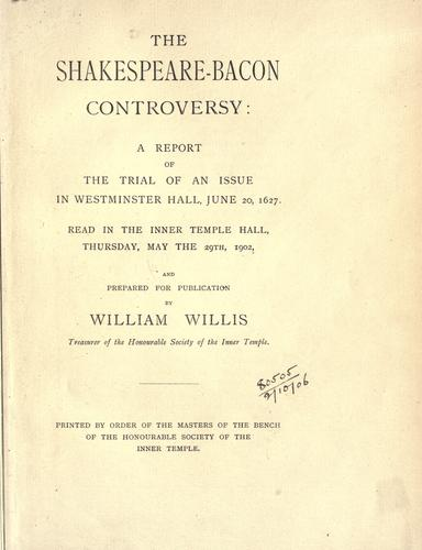 Download The Shakespeare-Bacon controversy