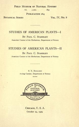 Studies of American plants