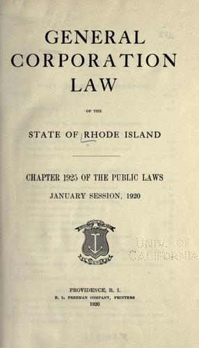 Download General corporation law of the state of Rhode Island.