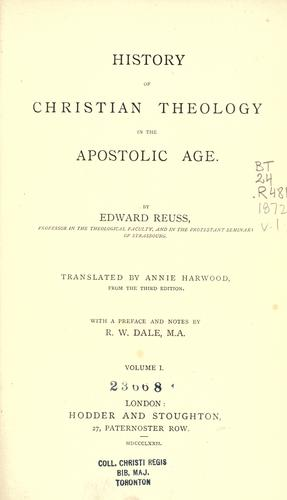 Download History of Christian theology in the apostolic age