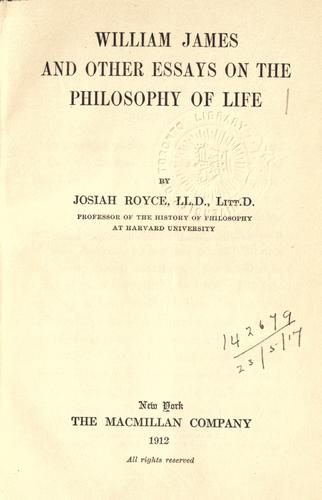 Download William James, and other essays on the philosophy of life.