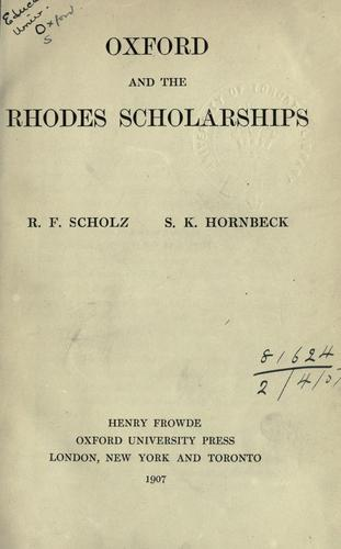 Oxford and the Rhodes Scholarships.