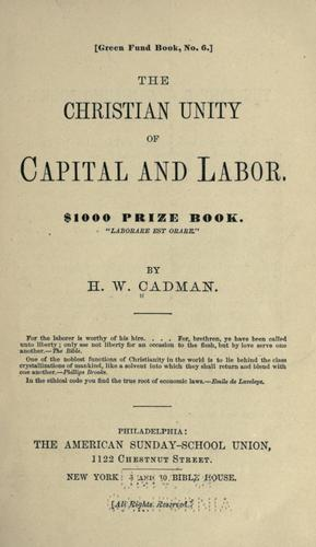 The Christian unity of capital and labor …