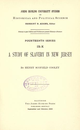 Download A study of slavery in New Jersey.