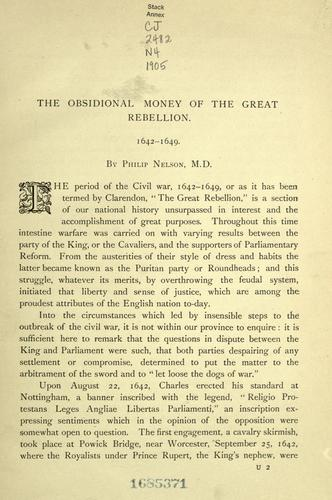 Download The obsidional money of the Great Rebellion, 1642-1649