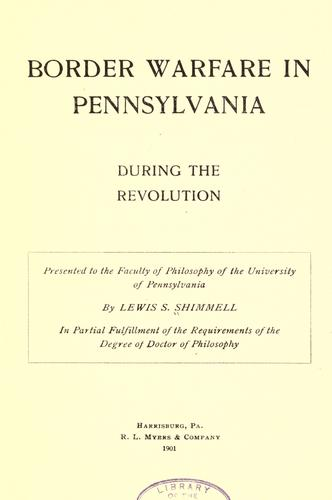 Border warfare in Pennsylvania during the Revolution