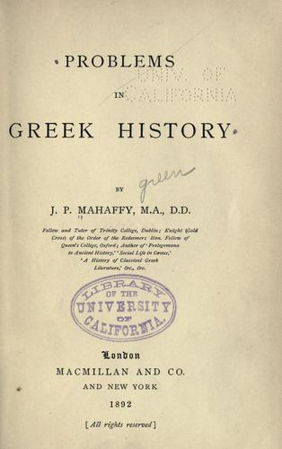 Download Problems in Greek history