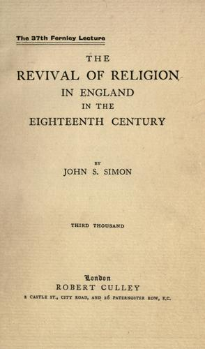 Download The revival of religion in England in the eighteenth century.