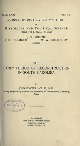 Download The early period of Reconstruction in South Carolina