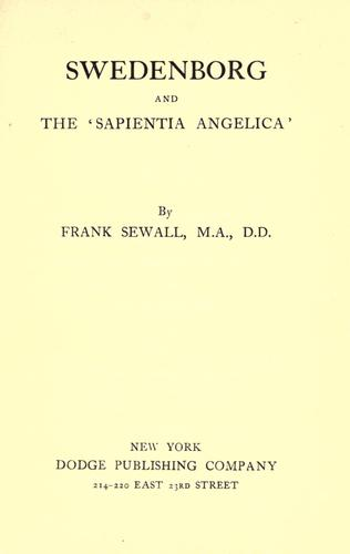 Download Swedenborg and the 'Sapientia angelica'