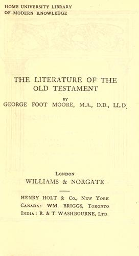 Literature of the Old Testament.