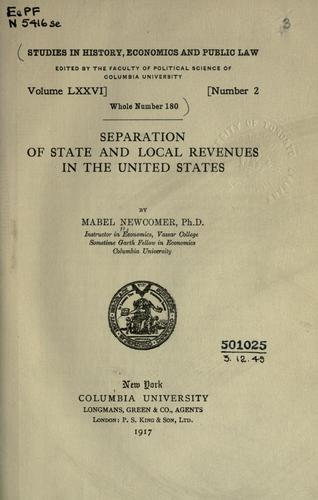 Download Separation of state and local revenues in the United States