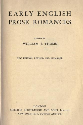 Download Early English prose romances