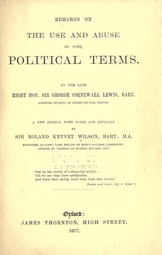 Download Remarks on the use and abuse of some political terms