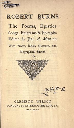 Poems, epistles, songs, epigrams & epitaphs.