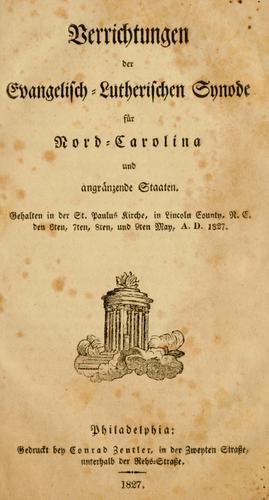 Download Verrichtungen des Evangelisch-Lutherischen Synode für Nord-Carolina und angränzende Staaten