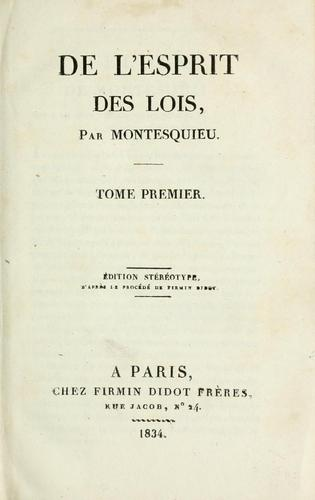 Download De l'esprit des loix