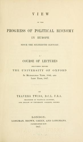 View of the progress of political economy in Europe since the sixteenth century …