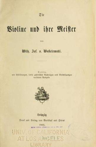 Download Die Violine und ihre Meister