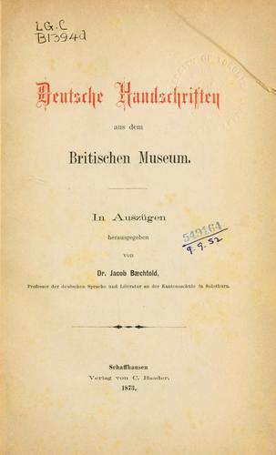Deutsche Gedichte des Mittelalters.