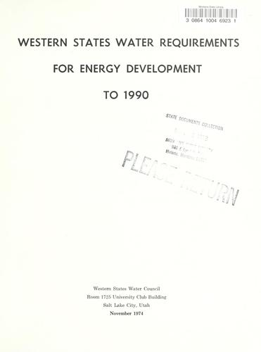 Western States water requirements for energy development to 1990.