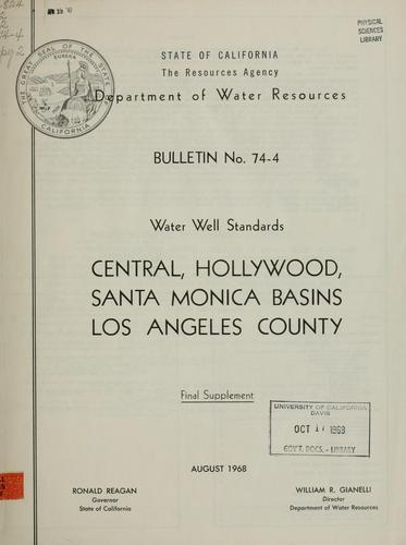 Download Water well standards, Central, Hollywood, Santa Monica Basins, Los Angeles County