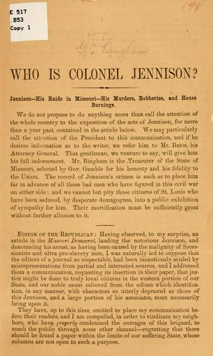 Who is Colonel Jennison? by George Caleb Bingham