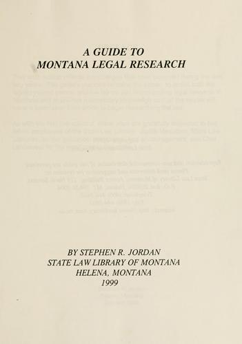 Download A guide to Montana legal research