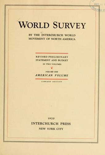 Download World survey by the Interchurch World Movement of North America