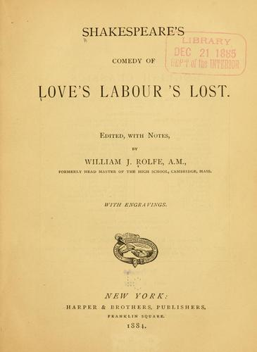 Download Shakespeare's comedy of Love's labour's lost.