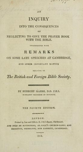 Download An inquiry into the consequences of neglecting to give the Prayer book with the Bible.