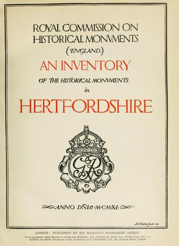 Download An inventory of the historical monuments in Hertfordshire.