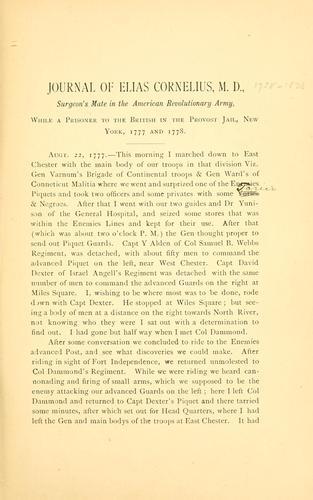 Journal of Dr. Elias Cornelius.