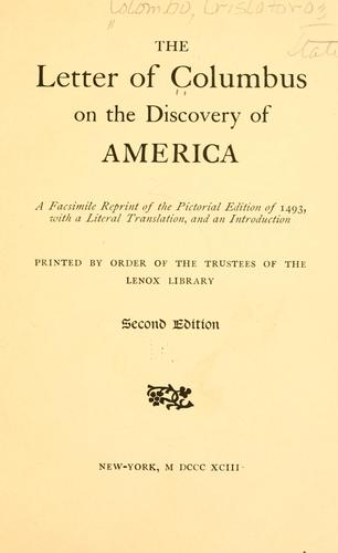 Download The letter of Colombus on the discovery of America