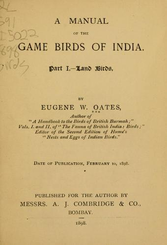 Download A manual of the game birds of India …