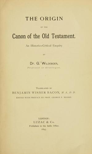 The origin of the canon of the Old Testament