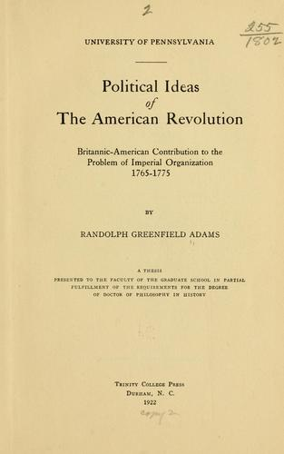 Political ideas of the American revolution…