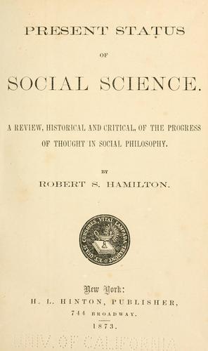 Present status of social science.