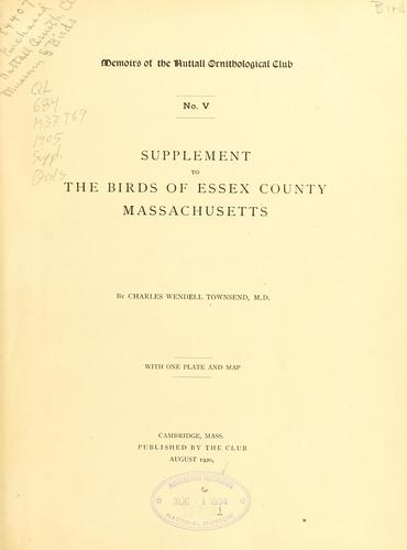 Download Supplement to the birds of Essex County, Massachusetts