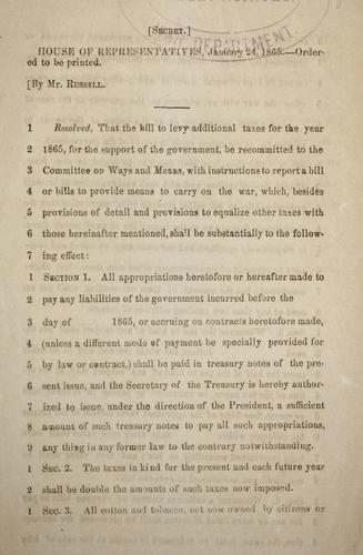 Download Resolution concerning additional taxes for the year 1865
