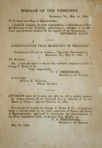 Communication from secretary of Treasury submitting estimate for amount of account due George P. Evans & co., for printing