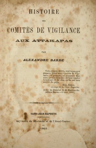 Histoire des comités de vigilance aux Attakapas