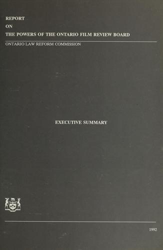 Report on the powers of the Ontario Film Review Board