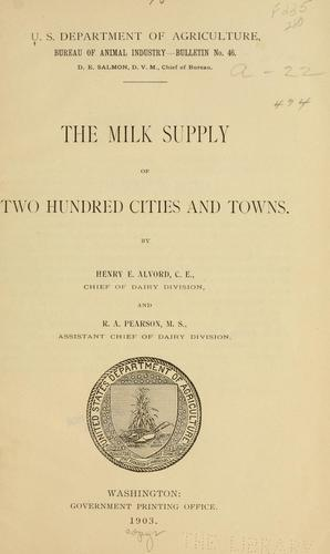 The milk supply of two hundred cities and towns.