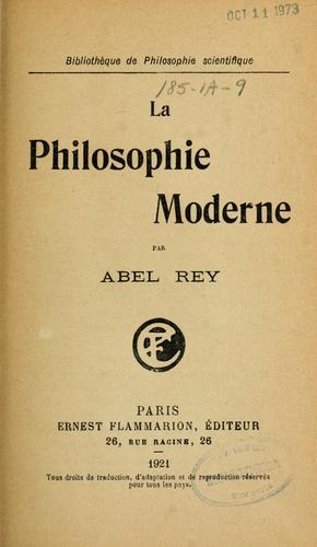La philosophie moderne