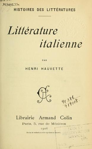Littérature italienne.