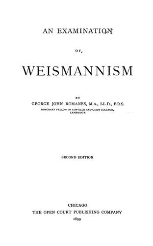 Download An examination of Weismannism