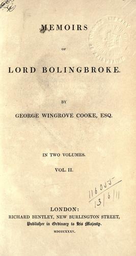 Download Memoirs of Lord Bolingbroke.