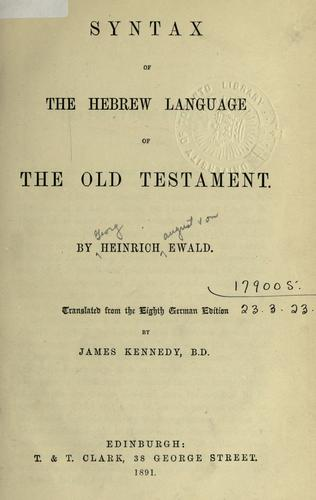 Download Syntax of the Hebrew language of the Old Testament