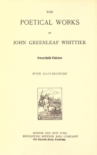 Poems by John Greenleaf Whittier